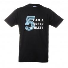 """中性款T恤-  黑色""""I'am a 5uperathlete"""""""