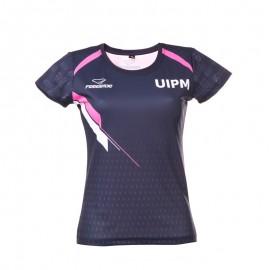 女士功能性T恤 深藍色/粉色款
