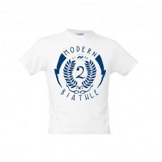 "白色兒童T恤-""Modern Biathle Kids"""