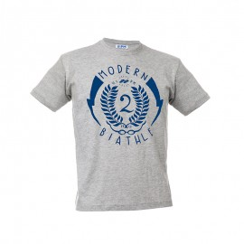 """灰色兒童T恤- """"Modern Biathle Kids"""""""
